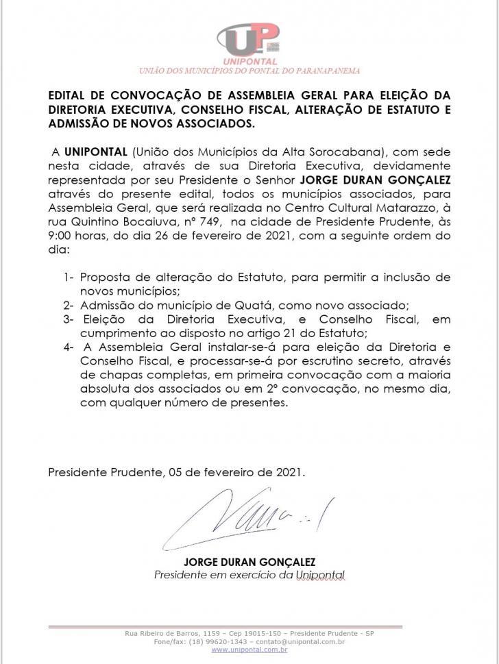 Unipontal divulga edital para eleição da nova diretoria