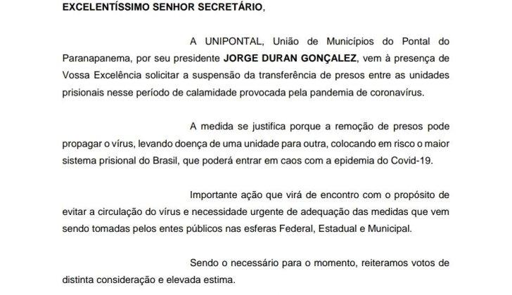 Unipontal pede suspensão de transferência de presos no sistema prisional