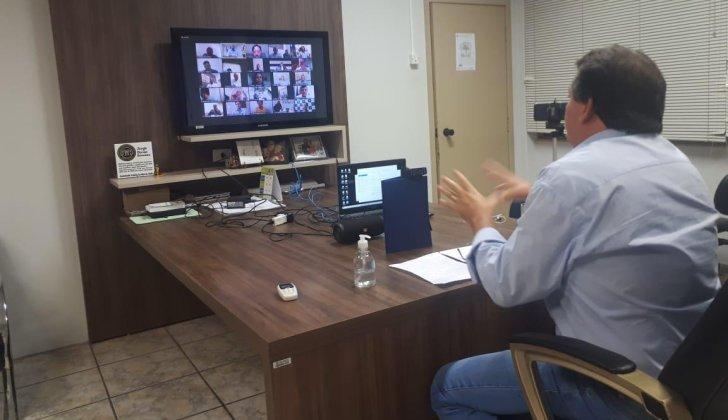 Prefeitos da Unipontal em vídeo conferência com o vice-governador Rodrigo Garcia e Secretário Marco Vinholi